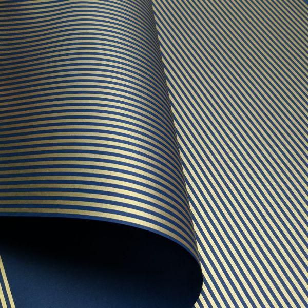 Papel Listrado - Azul Escuro com Dourado - Tam. A4 - 180g/m²