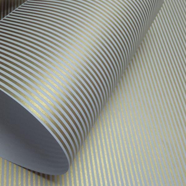 Papel Listrado - Branco com Dourado - Tam. 30,5x30,5 - 180g/m²
