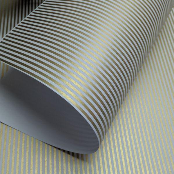 Papel Listrado - Branco com Dourado - Tam. 32x65cm - 180g/m²