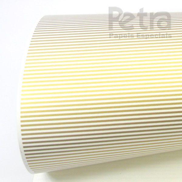 Papel Listrado - Branco com Dourado - Tam. 47x65cm - 180g/m²