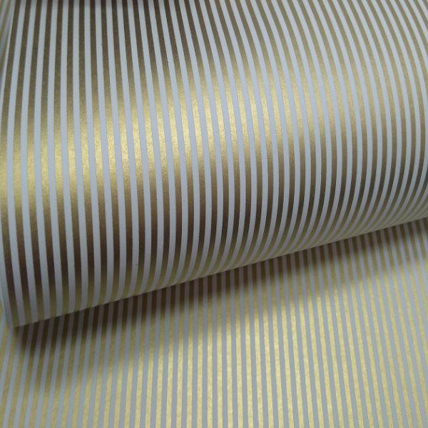 Papel Listrado - Branco com Dourado - Tam. A3 - 180g/m²