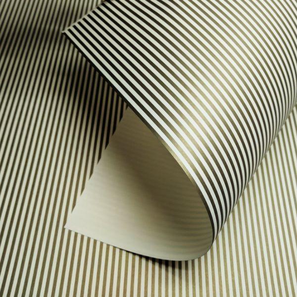 Papel Listrado - Marfim com Dourado - Tam. 32x65cm - 180g/m²