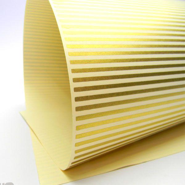Papel Listrado - Marfim com Dourado - Tam. 47x65cm - 180g/m²