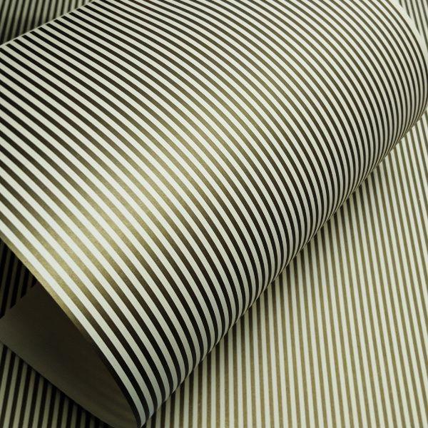 Papel Listrado - Marfim com Dourado - Tam. A3 - 180g/m²