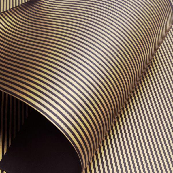 Papel Listrado - Marrom com Dourado - Tam. 32x65cm - 180g/m²