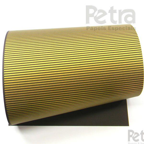Papel Listrado - Marrom com Dourado - Tam. 47x65cm - 180g/m²