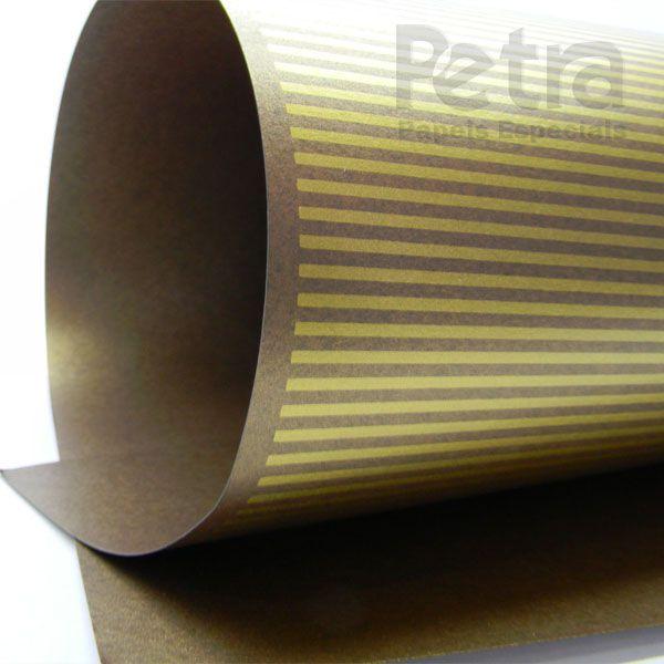 Papel Listrado - Pérola Bronze com Dourado - Tam. 30,5x30,5 - 180g/m²