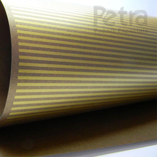 Papel Listrado - Pérola Bronze com Dourado - Tam. A4 - 180g/m²