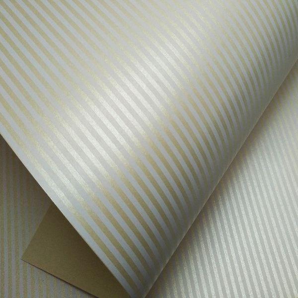Papel Listrado - Pérola Champanhe com Branco - Tam. 30,5x30,5cm - 180g/m²