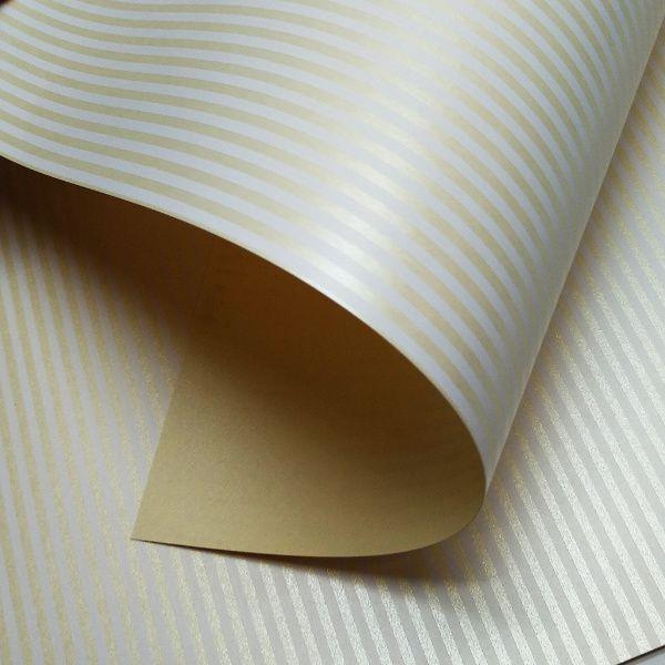 Papel Listrado - Pérola Champanhe com Branco - Tam. 32x65cm - 180g/m²