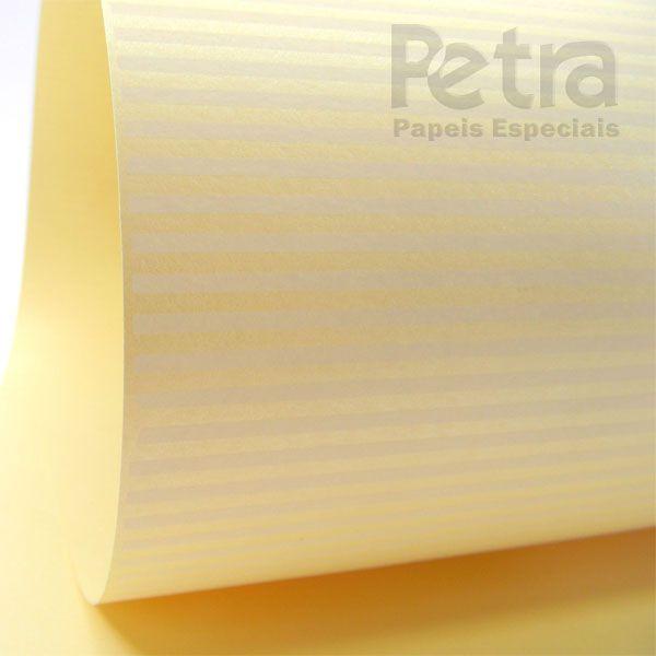 Papel Listrado - Pérola Champanhe com Branco - Tam. 47x65cm - 180g/m²