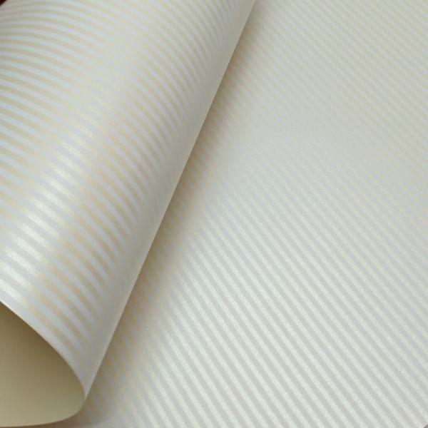 Papel Listrado - Pérola Champanhe com Branco - Tam. A3 - 180g/m²