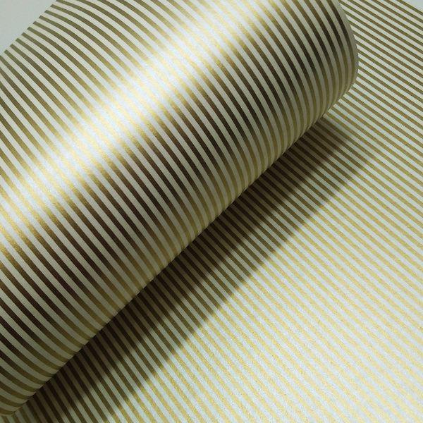 Papel Listrado - Pérola Champanhe com Dourado - Tam. A3 - 180g/m²