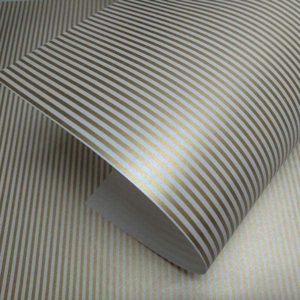 Papel Listrado - Pérola  com Dourado - Tam. A3 - 180g/m²