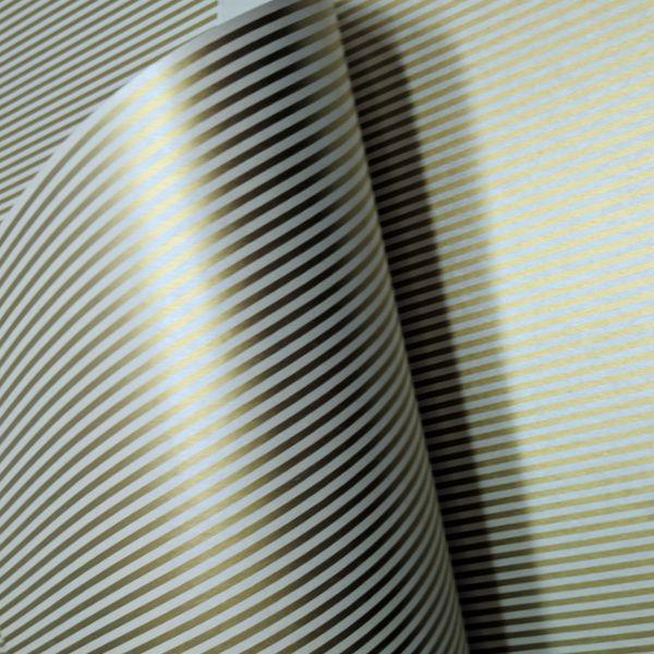 Papel Listrado - Pérola com Dourado - Tam. A4 - 180g/m²