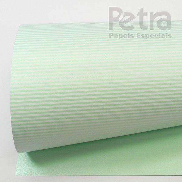 Papel Listrado - Pérola Verde com Branco - Tam. 47x65cm - 180g/m²