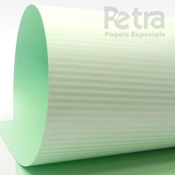 Papel Listrado - Pérola Verde com Branco - Tam. A3 - 180g/m²