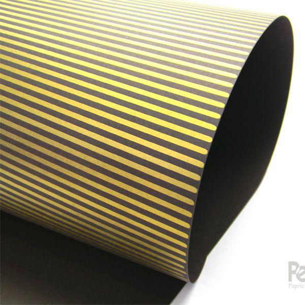 Papel Listrado - Preto com Dourado - Tam. 47x65cm - 180g/m²