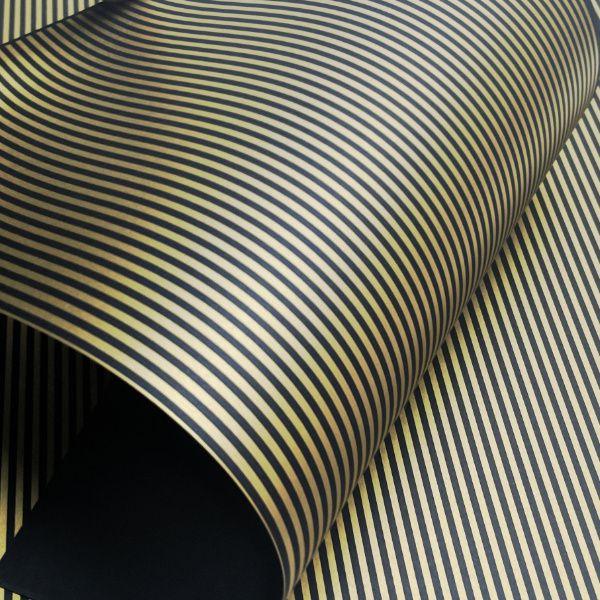 Papel Listrado - Preto com Dourado - Tam. A3 - 180g/m²