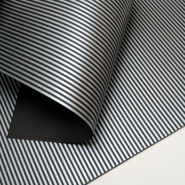 Papel Listrado - Preto com Prata - Tam. A4 - 180g/m²