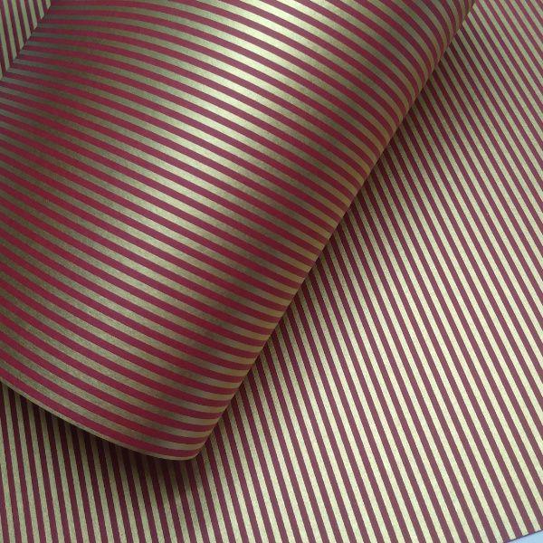Papel Listrado - Vermelho com Dourado - Tam. 32x65cm - 180g/m²