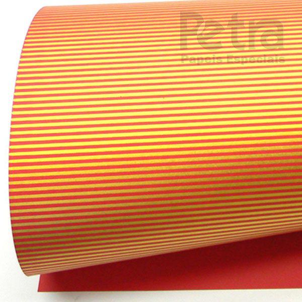 Papel Listrado - Vermelho com Dourado - Tam. 47x65cm - 180g/m²