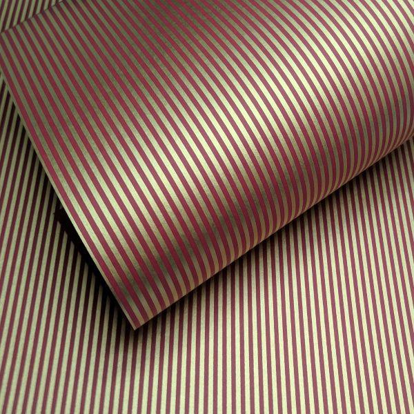Papel Listrado - Vermelho com Dourado - Tam. A4 - 180g/m²