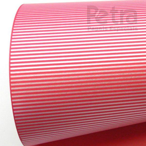 Papel Listrado - Vermelho com Prata - Tam. 30,5x30,5 - 180g/m²