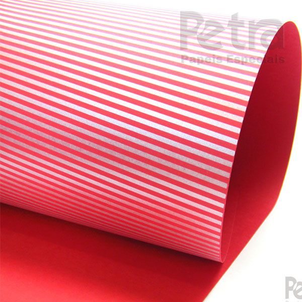 Papel Listrado - Vermelho com Prata - Tam. 47x65cm - 180g/m²