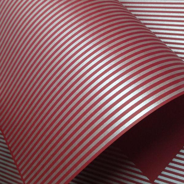 Papel Listrado - Vermelho com Prata - Tam. A4 - 180g/m²