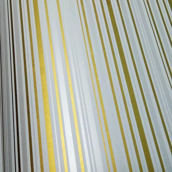 Papel Listras Dual Cor - Branco com Dourado e Pérola - Tam. 30,5x30,5 - 180g/m²