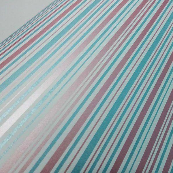 Papel Listras Dual Cor - Branco com Rosa e Azul - Tam. 30,5x30,5 - 180g/m²