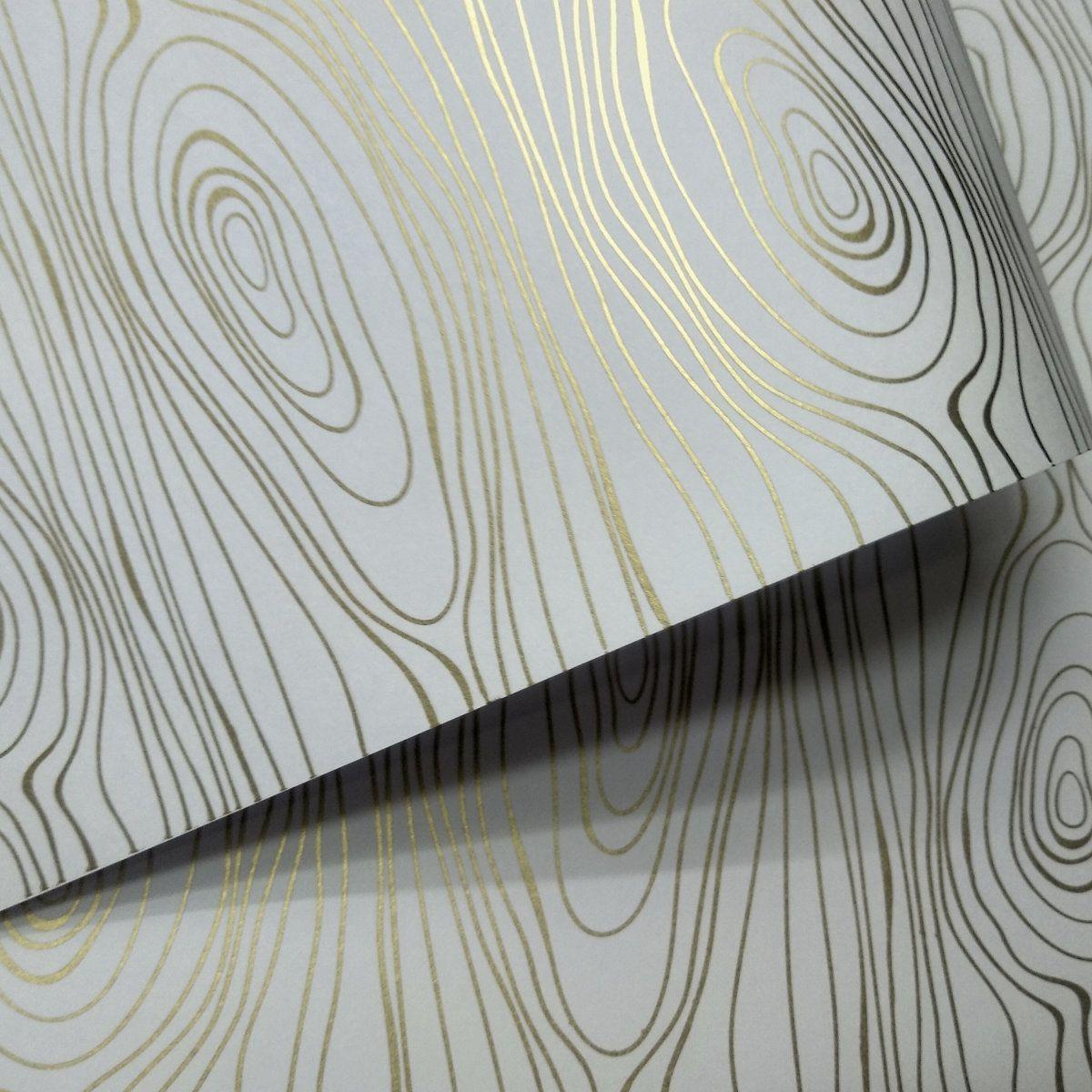 Papel Madeira - Branco com Dourado - Tam. A3 - 180g/m²