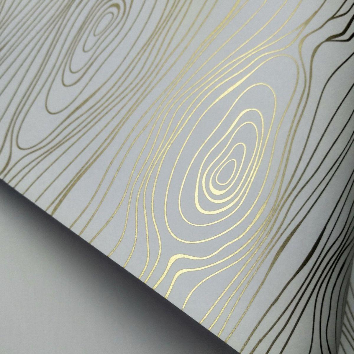 Papel Madeira - Branco com Dourado - Tam. A4 - 180g/m²