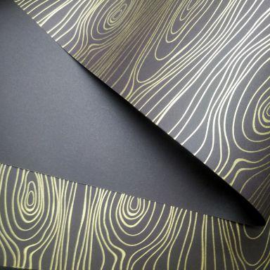 Papel Madeira - Marrom com Dourado - Tam. A4 - 180g/m²