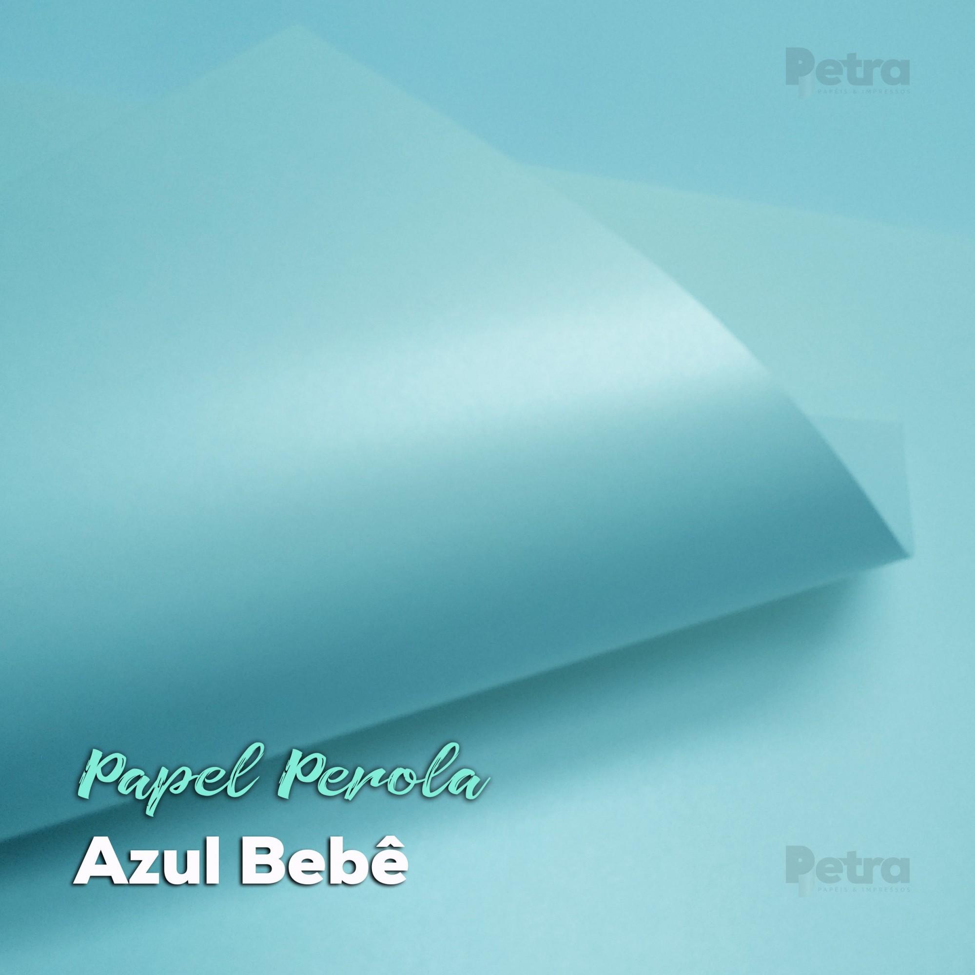 Papel Pérola Azul Bebê Tam: A4 180g/m²