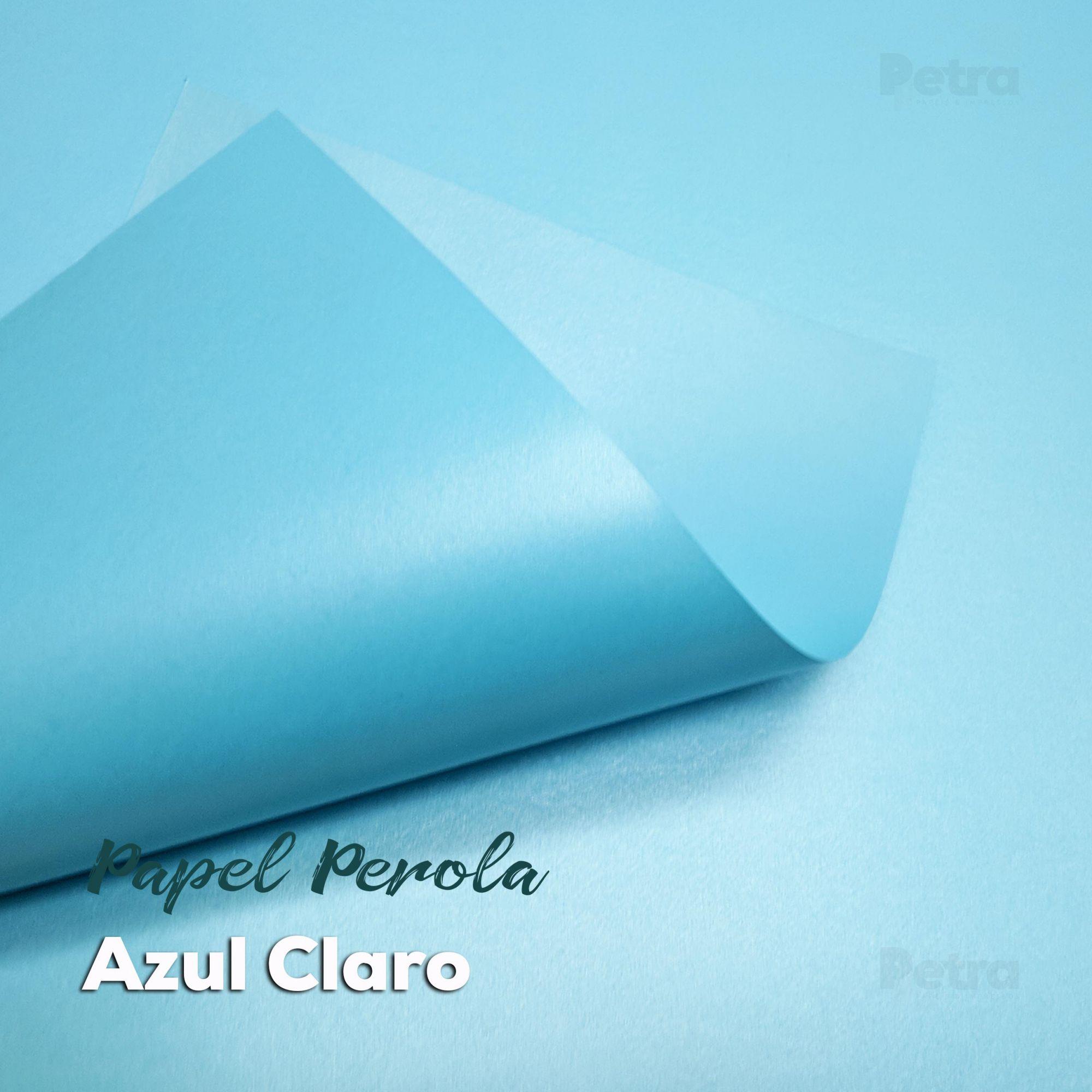 Papel Pérola Azul Claro Tam: 66x96cm 240g/m²  com 10 folhas