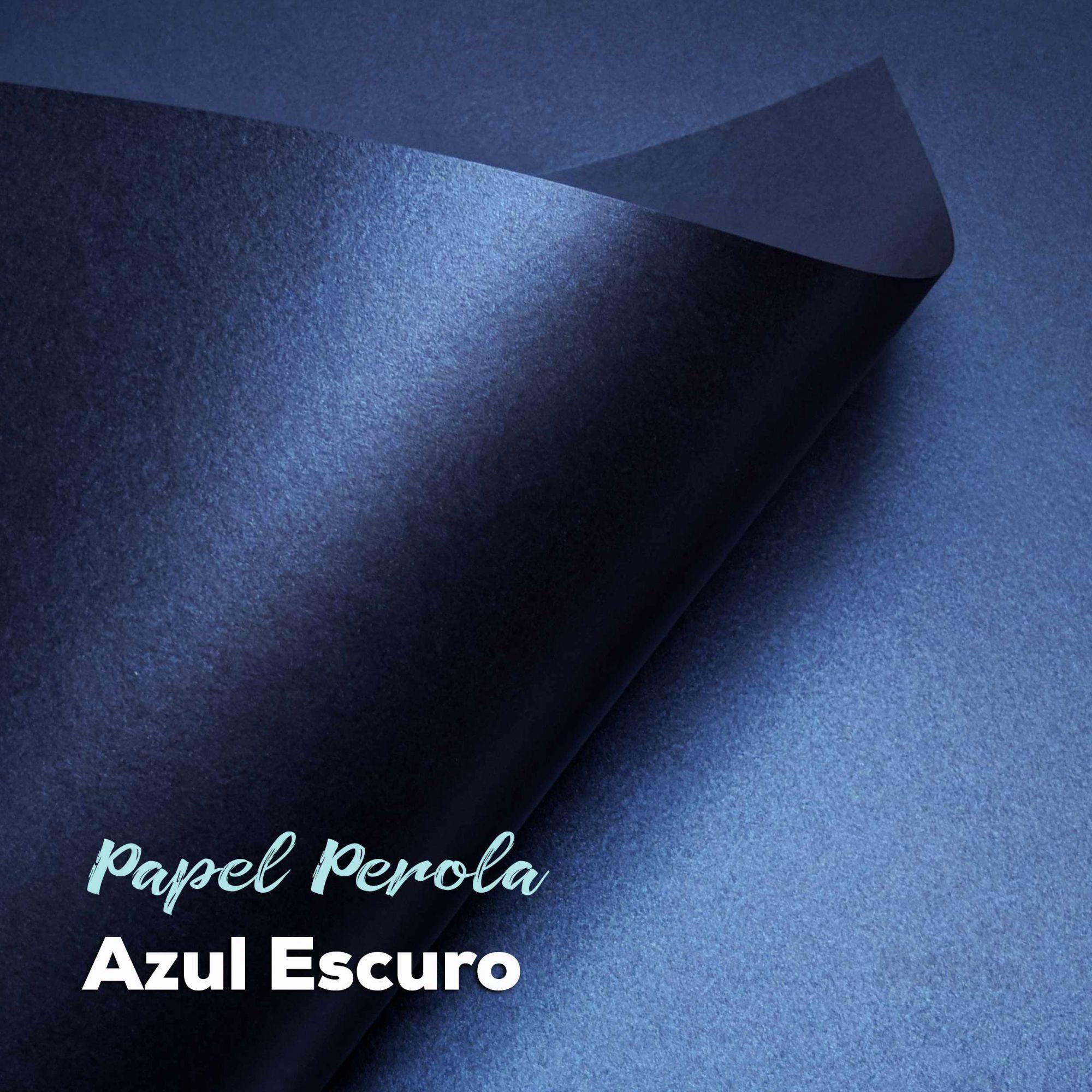 Papel Pérola Azul Escuro Tam: 66x96cm 180g/m² com 10 folhas