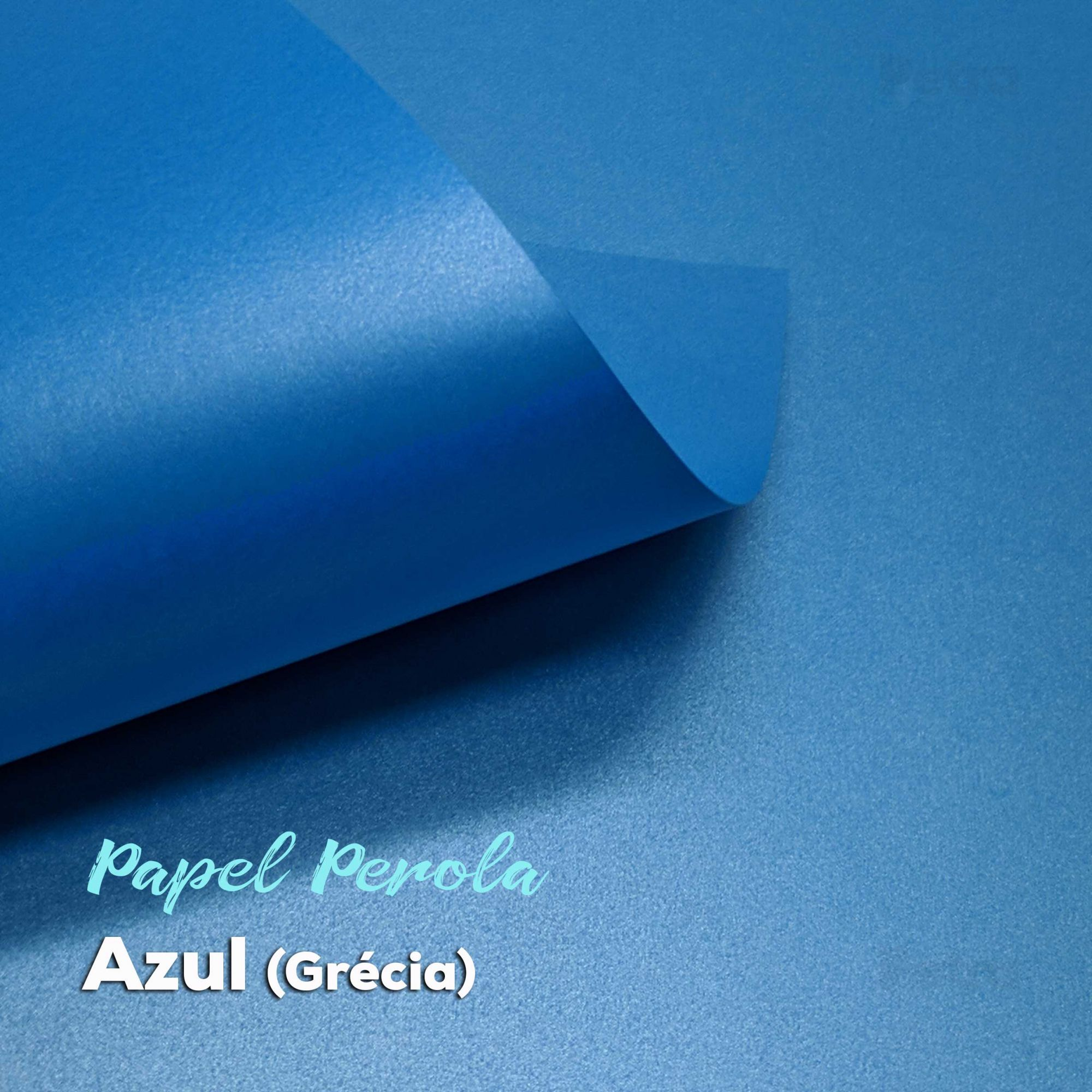 Papel Pérola Azul Grécia Tam: 66x96cm 180g/m²  - Com 10 folhas