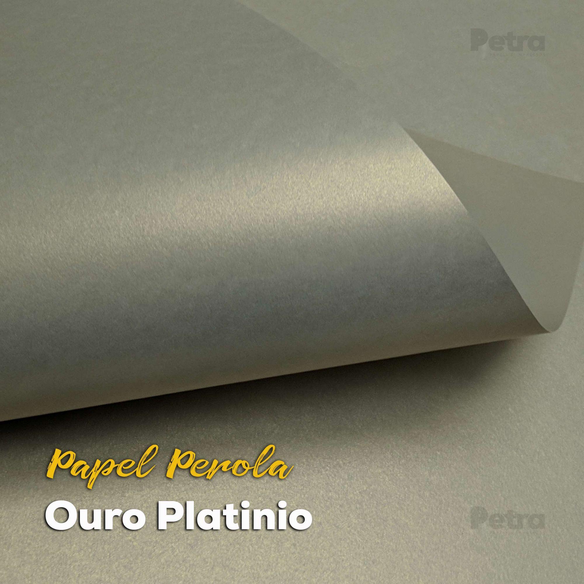 Papel Pérola Ouro Platino Tam: 66x96cm 180g/m²  com 10 folhas