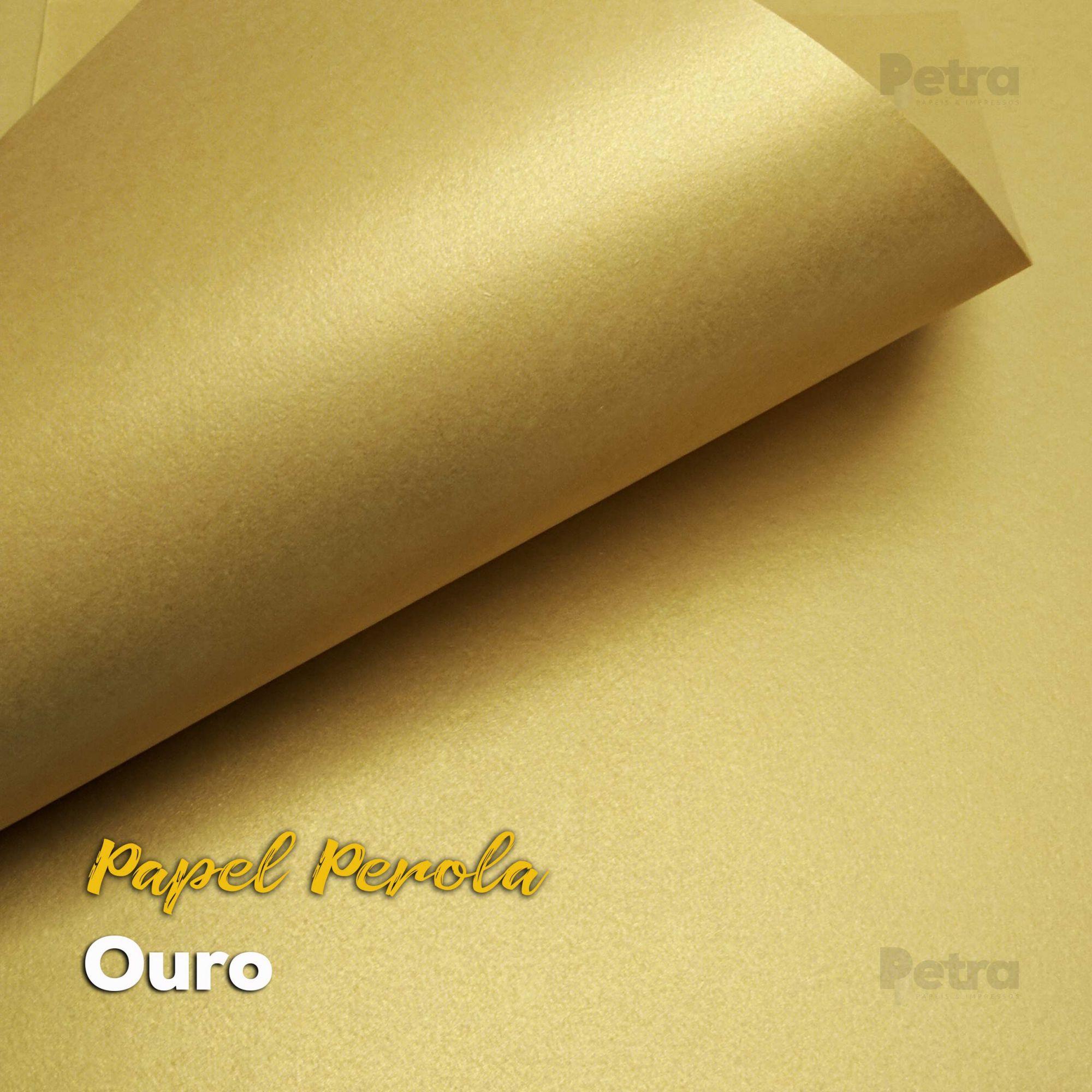 Papel Pérola Ouro Tam: 66x96cm 180g/m² com 10 folhas