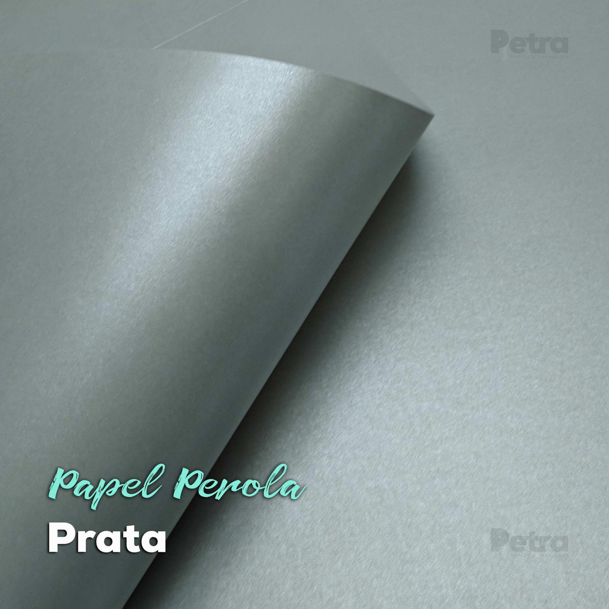 Papel Pérola Prata Tam: 66x96cm 180g/m²  com 10 folhas