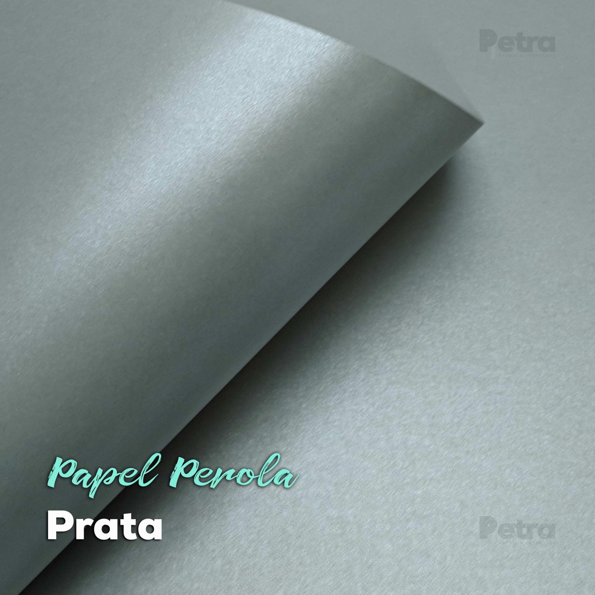 Papel Pérola Prata Tam: 66x96cm 240g/m² com 10 folhas