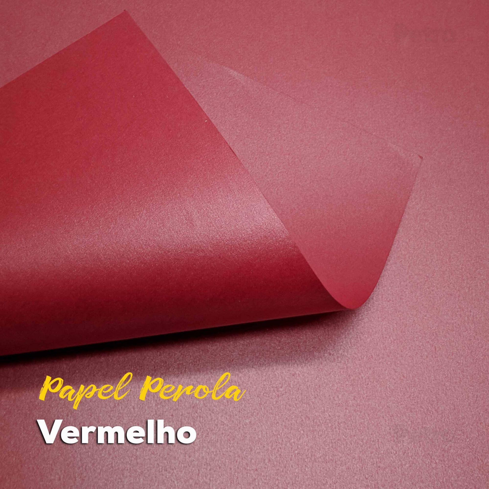 Papel Pérola Vermelho Tam. 30,5x30,5 - 180g/m²