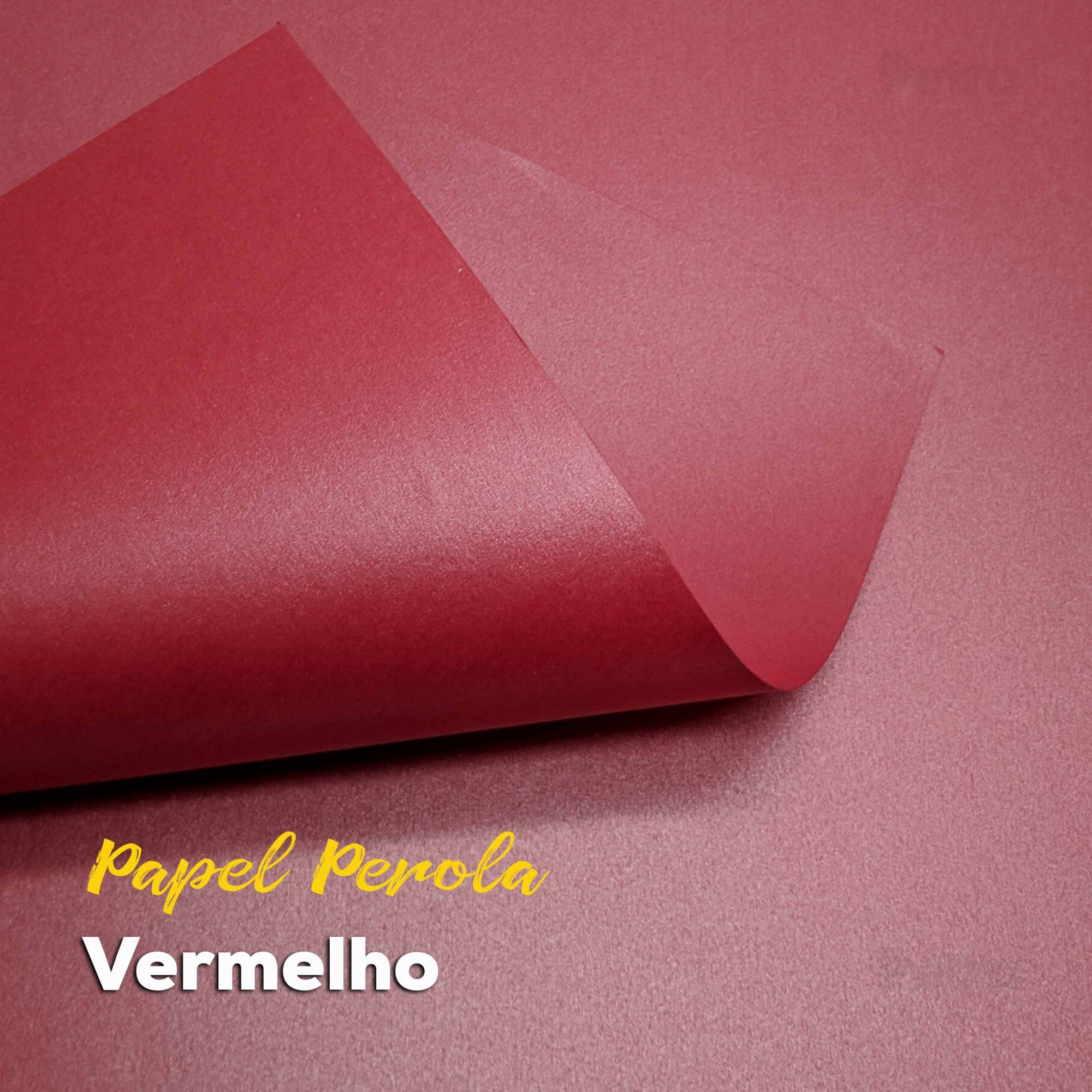 Papel Pérola Vermelho Tam: 66x96cm 180g/m² com 10 folhas