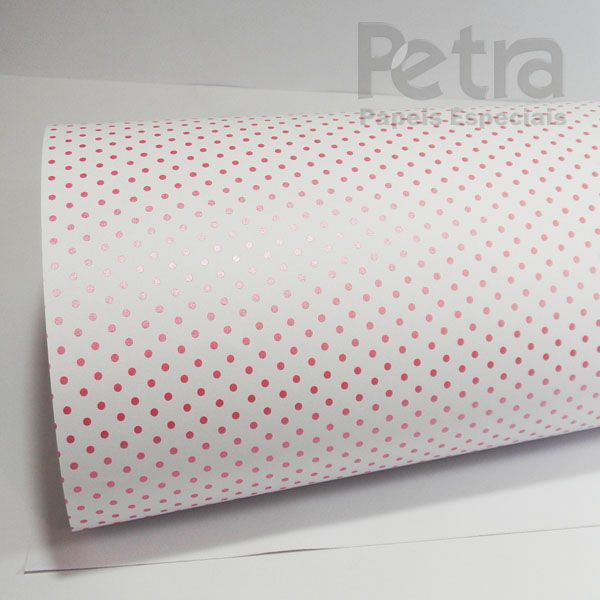 Papel Poás - Branco com Rosa - Tam. 32x65cm - 180g/m²