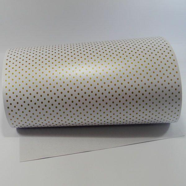 Papel Poás - Pérola Branca com Dourado - Tam. 32x65cm - 180g/m²