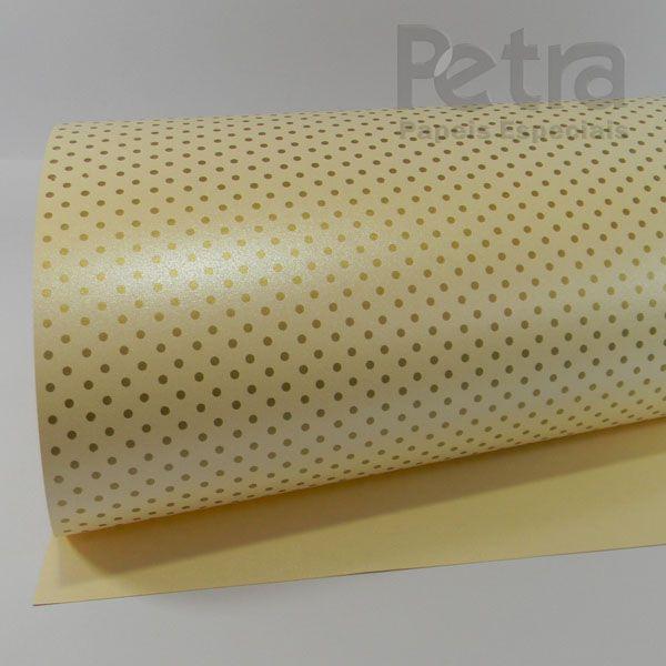 Papel Poás - Pérola Champanhe com Dourado - Tam. 30,5x30,5 - 180g/m²