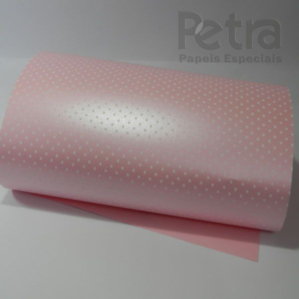 Papel Poás - Pérola Rosa Claro com Branco - Tam. 32x65cm - 180g/m²