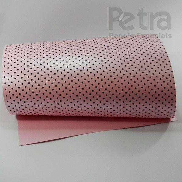 Papel Poás - Pérola Rosa Claro com Marrom - Tam. 32x65cm - 180g/m²